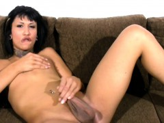 Short hair woman with fuckpole strokes small cock and phat balls