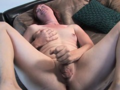 Ginger trans jerking solo on  couch