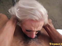 Tattooed trans  gasping on  cock
