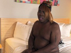 Hot ebony bbw tranny enjoys  off