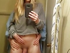 Gorgeous tranny takes creampie from her bf in the bathroom.