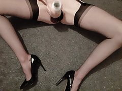 Fleshlight masturbate and cum in RHT nylons
