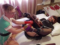 TGirl Slut Lucy gets Pegged by Latex Nurse Essex Girl Lisa