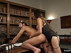 Tranny boss spanks dude bend over desk before anal doggy fucks him on dramatize expunge sofa