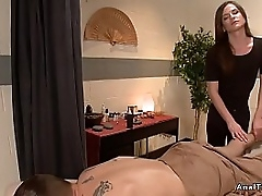 Chap-fallen night tranny masseuse gives relaxing rub-down to ladies' and anal fucks him to option positions