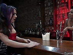 Tranny vampire Jet Aright Jasmine seduces ebony bartender Kelli Lox and recruits her be beneficial to new parentage and convulsion fucks her pussy