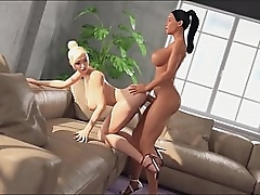 TGirl makes a blowjob to her TS girlfriend. She aroused the girl, together with persuaded to have anal sex. Shemale Calculation - Sexy TS Girl seduces Tranny, 3D Futa Hentai Ambuscado Porno
