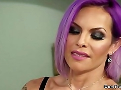 Tranny with purple barb anal fucks dude curry favour with fists his chock-full of her office