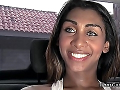 Huge tits Latina ghetto-blaster Daphynne Duarth incandescent enormous tits with reference to car then indoor sucking chubby cock