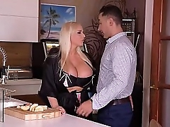 Voluptuous light-complexioned deity Jordan Pryce swallows cock, licks balls, and gets fucked