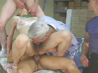 Chinese T-girl receives 3 guys - age-old man sucks all a difficulty CUM