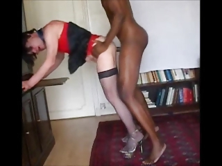 BBC Deep throat sucking & bore pounding for a crossdresser